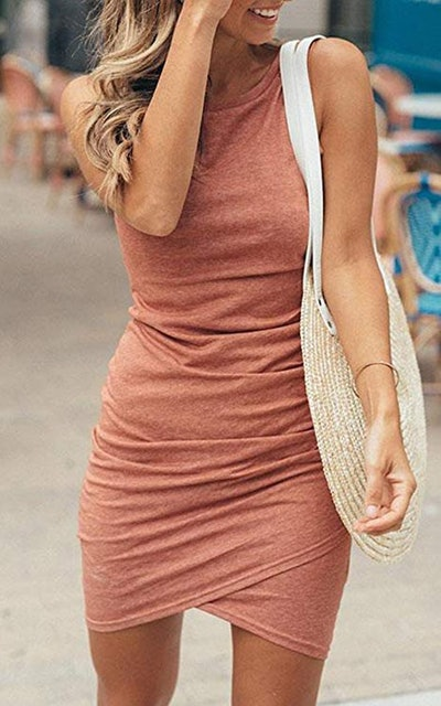 ECOWISH Ruched Bodycon Dress