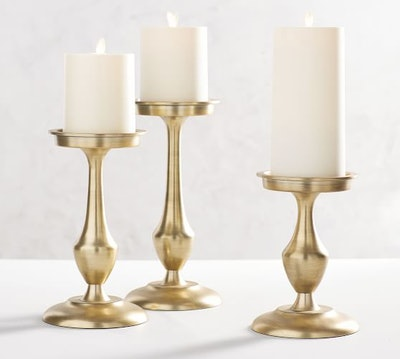 Chester Brushed Candle Holders, Brass