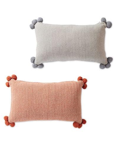 Herringbone Cushion with Pom Pom