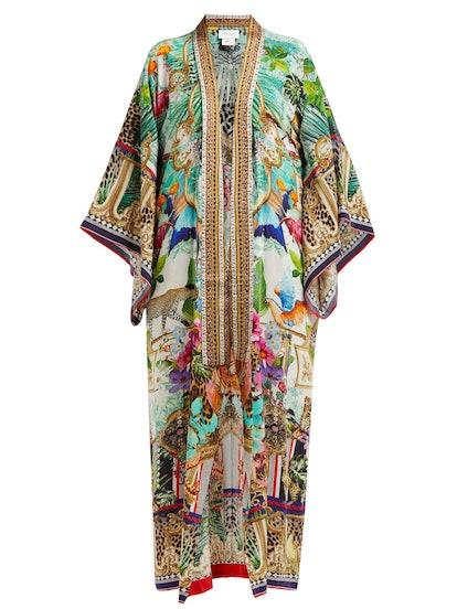 Champagne Coast Silk Printed Kimono-Style Robe