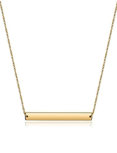 Wistic Gold Plated Necklace with Engravable Bar Pendant