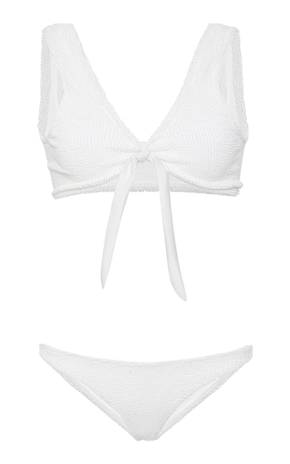 Angela Tie-Detailed Seersucker Bikini