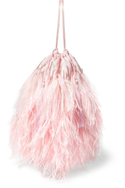 Feather-Trimmed Beaded Satin Pouch