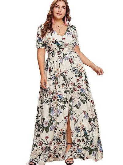 Romwe Plus Size Floral Maxi Dress