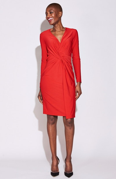 Twist Front Dress In Red