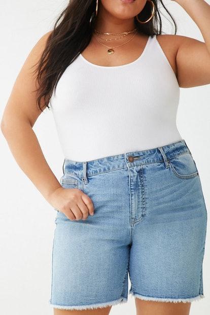 Plus Size Frayed-Trim Bermuda Shorts