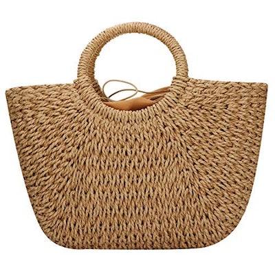EROUGE Hand Woven Straw Hand Bag