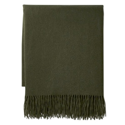 Solid Cashmere Throw, Moss