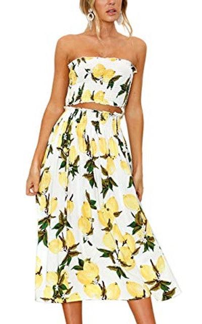 Bandeau Crop Top And Maxi Skirt Set
