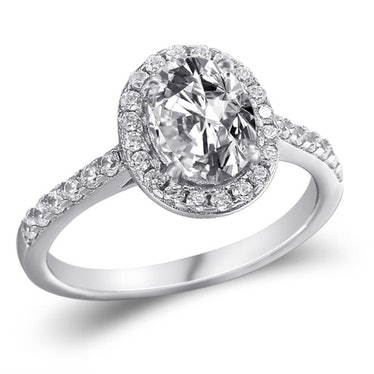 Oval Halo White Sapphire Ring