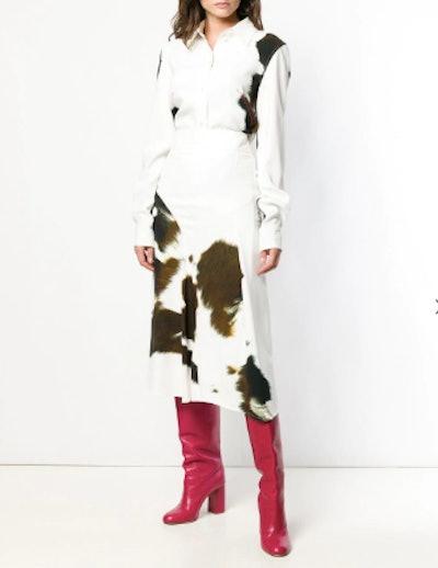 Cow-Print Cady Skirt