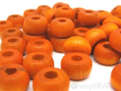 Orange Wood Beads