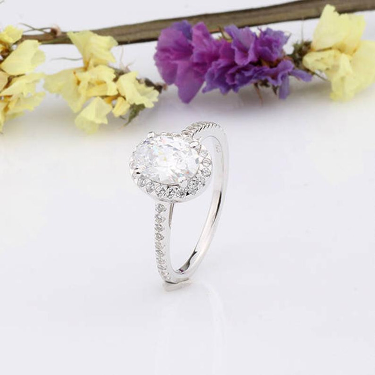 Halo Oval Cubic Zirconia Engagement Ring