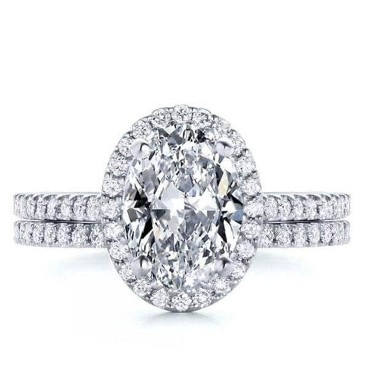 Classic Oval White Sapphire Bridal Set
