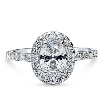 Sterling Silver Halo Ring Made with Swarovski Zirconia