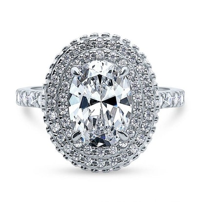 Sterling Silver Oval CZ Statement Halo Ring