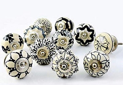 Artncraft Set of 10 Vintage Ceramic Cupboard Door Knobs
