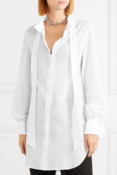 Oversized Tie-Neck Cotton Shirt