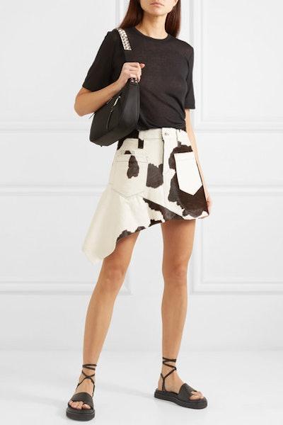 Asymmetric Calf Hair Mini Skirt
