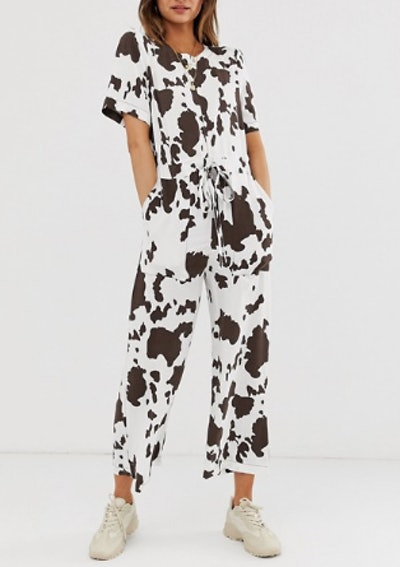 T-Shirt Jumpsuit in Cow Animal Print