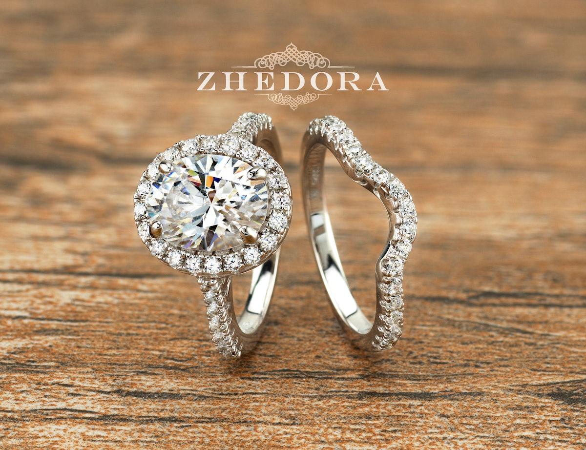 Oval Cut Bridal Set Halo Engagement Ring