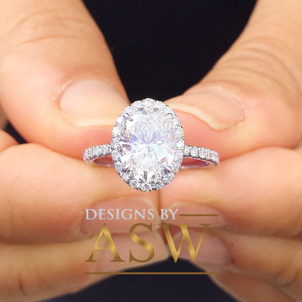 White Gold Oval Simulated Diamond Engagement Ring