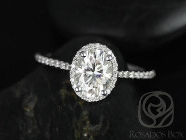 White Gold Moissanite Oval Halo Engagement Ring