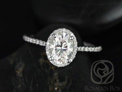 White Gold Moissanite Oval Halo Engagement Ring
