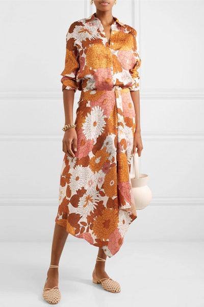 Noemie Floral-Print Silk-Jacquard Shirt