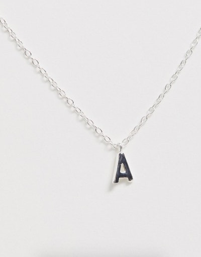 DesignB London Sterling Silver A Initial Necklace
