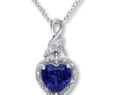Kay Lab-Created Sapphire Necklace With Diamonds Sterling Silver