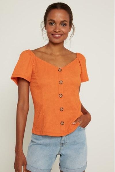 F&F Orange Textured Button Through Top