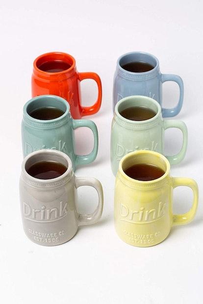Vintage-Inspired Ceramic Coffee Mugs (Set of 6)