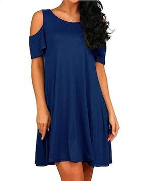 HAOMEILI T-Shirt Cold Shoulder Dress