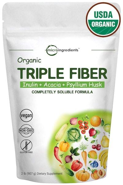 Microingredients Organic Triple Prebiotic Dietary Fiber Supplement Powder for Digestive Health (32 oz)