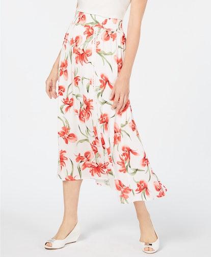 Floral-Print Gauze Skirt