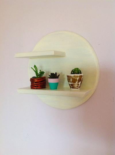 Circular Shelf White Wood