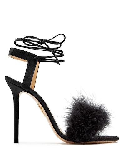 Salsa feather-embellished suede sandals