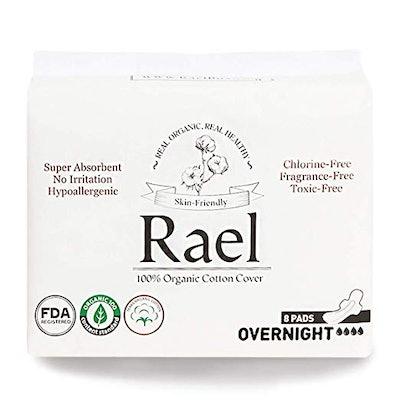 Rael 100% Organic Cotton Menstrual Overnight Pads (2 Packs of 8)