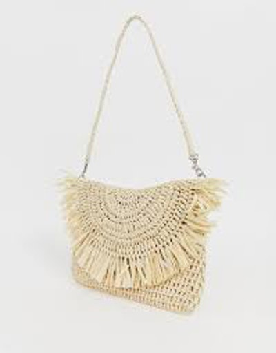 Frayed edge natural straw clutch bag with detachable shoulder strap