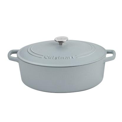 Cuisinart Oval Cast Iron Casserole, Matte Grey (7 Qt)