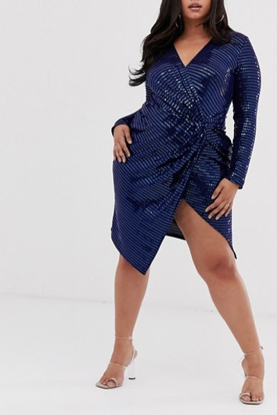 Flounce London Plus Sequin Stretch Midi Dress in Navy