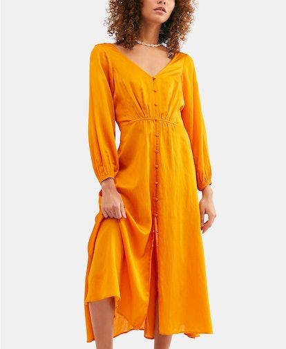 Later Days Lattice-Back Midi Dress