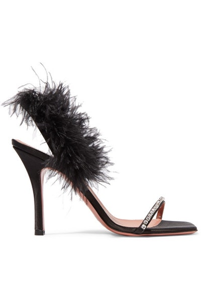 Adwoa crystal and feather-embellished satin sandals