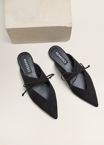 Bow leather shoes