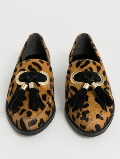 ASOS DESIGN Mimic leather loafer flat shoes in leopard print