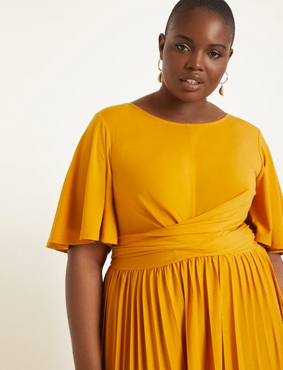 Wrap Dress with Pleated Skirt
