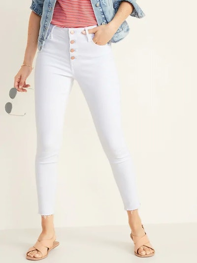 High-Rise Secret-Slim Pockets Button-Fly Rockstar Raw-Edge Ankle Jeans for Women