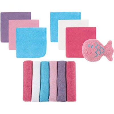 Baby Boy and Girl Washcloths, 12-Pack with Bath Toy