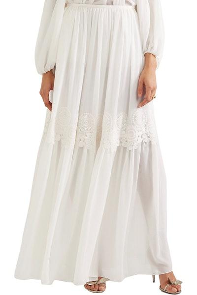 Chloé Guipure Lace-Trimmed Stretch-Silk Mousseline Maxi Skirt